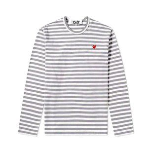 Comme des Garcons Play Stripe Small Heart Tee